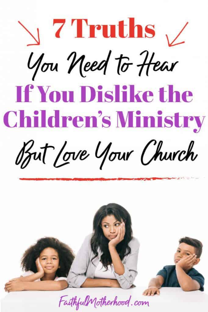 Mom and two children totally bored with their heads resting on their hands. Title - 7 truths you need to hear if you dislike the children's ministry but love your church