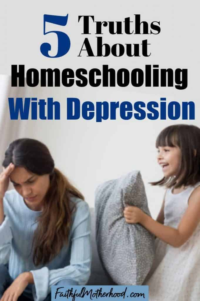 Tired, depressed mom with head in hand on couch who has a happy child standing by who wants to play. Title 5 Truths about homeschooling with depression.