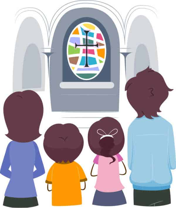 Illustration of a Christian Family Praying Together