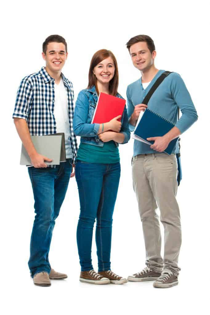students/friends standing together on a white background - 3 kids whose parents want to raise kids to be entrepreneurs with a entrepreneur vs employee mindset