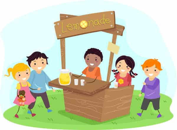 Illustration of a diverse group of children running a lemondade stand - preparing your homeschooler to be an entreprenuer