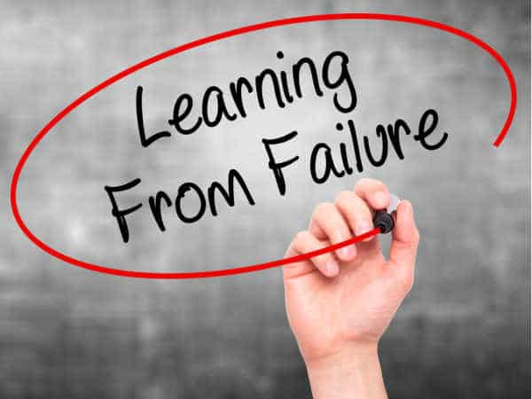 Hand writing Learning From Failure with black marker on visual screen - Learning from Failure is essential to prepare your homeschooler to be an entreprenuer