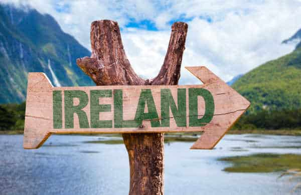 Sign that says Ireland on it and is pointing to the right to symbolize when St Patrick returned to Ireland to share the gospel.