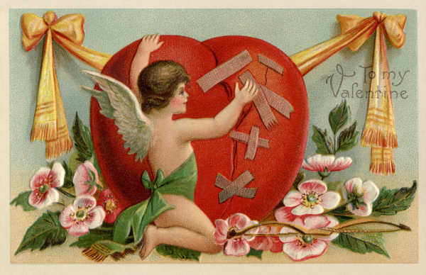 Vintage St Valentine's Day postcard with an angel patching up a heart.