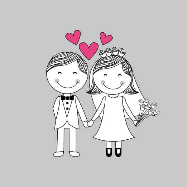 Illustration of a wedding couples in black and white on a purple/gray background for St Valentine's Day.