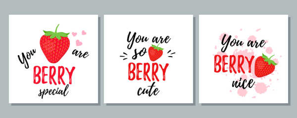 Trio of three St Valentine's Day cards with Strawberries.  You are berry special.  You are berry cute.  You are berry nice.  Faith Lessons for Valentine's Day.