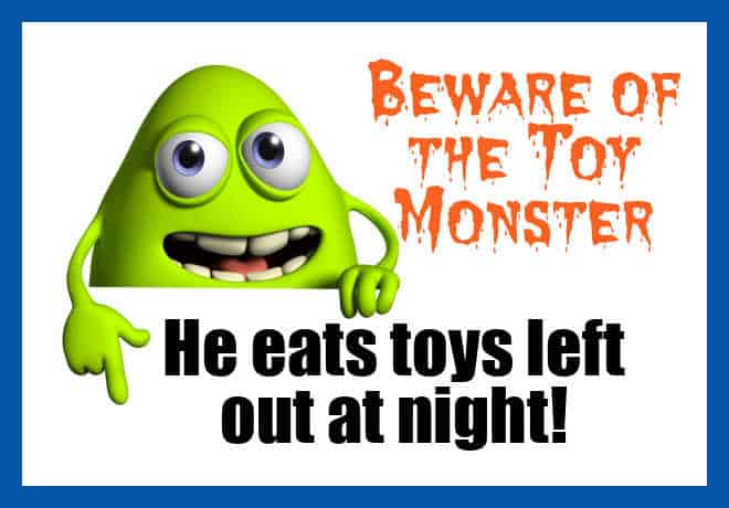 Green toy monster who eats toys left out at night on behalf of an unappreciated mom.